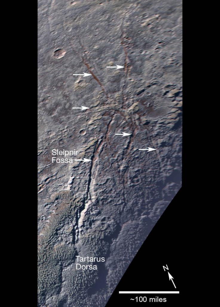Pluto's unusual spider-like feature consists of at least six extensional fractures that converge to a point. Individual fractures can reach hundreds of miles long and appear to expose a reddish subsurface layer. Image Credit: NASA/JHUAPL/SwRI