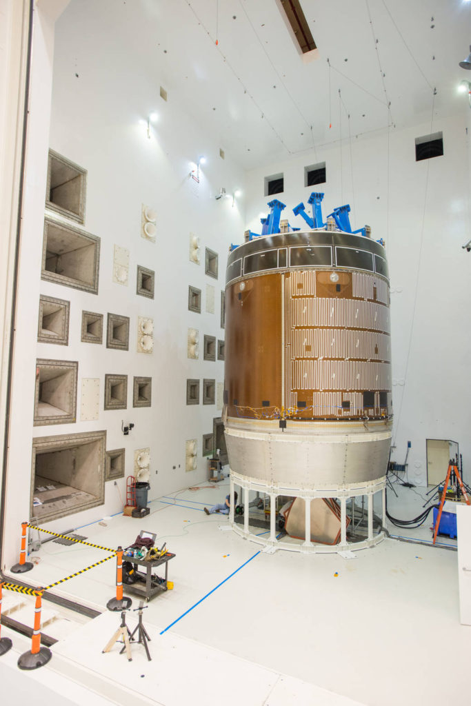 ESA's Orion service module test article in the Reverberant Acoustic Test Facility at NASA Glenn Research Center's Plum Brook Station. The blue structure sitting on top of the test article is a mass simulator that represents the Orion crew module. Image Credit: NASA