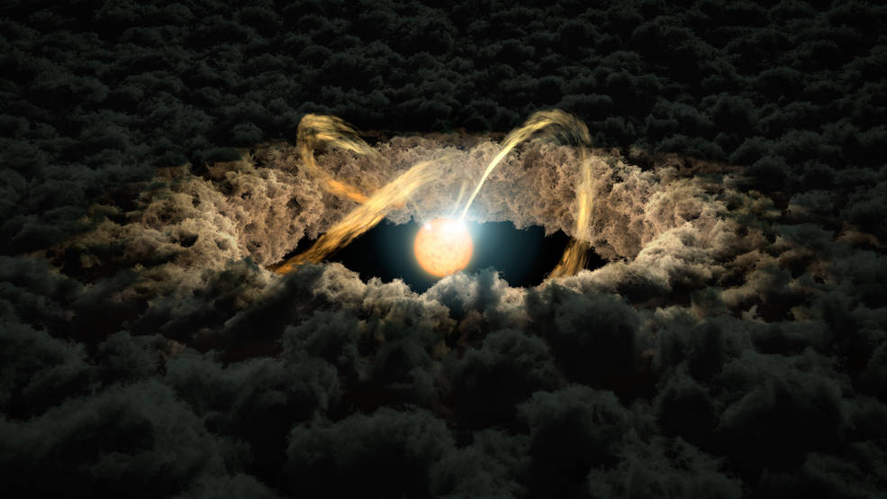 This illustration shows a star surrounded by a protoplanetary disk. Material from the thick disk flows along the star's magnetic field lines and is deposited onto the star's surface. When material hits the star, it lights up brightly. Image Credit: NASA/JPL-Caltech