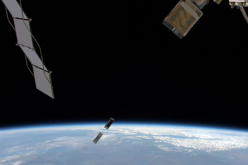 On May 16, 2016, the University of Colorado's MinXSS CubeSat deployed from an airlock of the International Space Station to enter an orbit around Earth. MinXSS observes soft X-rays from the sun -- such X-rays can disturb the ionosphere and thereby hamper radio and GPS signals. Image Credit: ESA/NASA