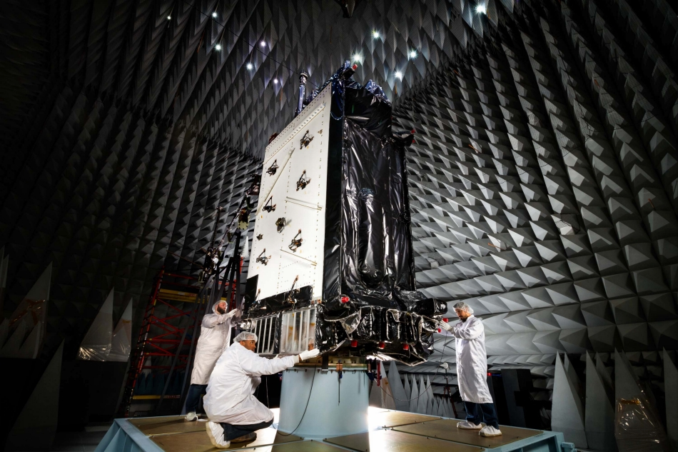 Lockheed Martin's first GPS III satellite in environmental testing at the company's GPS III Processing Facility near Denver, Colorado. Image Credit: Lockheed Martin