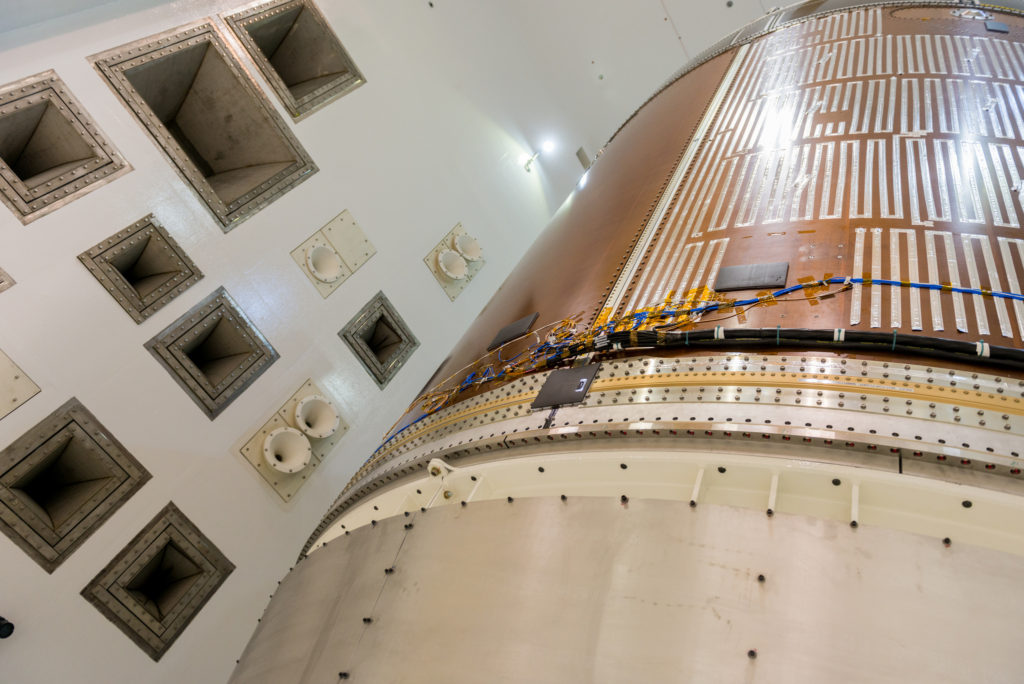 This image shows a close-up view of the structural representation of Orion's service module which was recently tested in the Reverberant Acoustic Test Facility at NASA Glenn's Plum Brook Station in Sandusky, Ohio. Image Credit: NASA