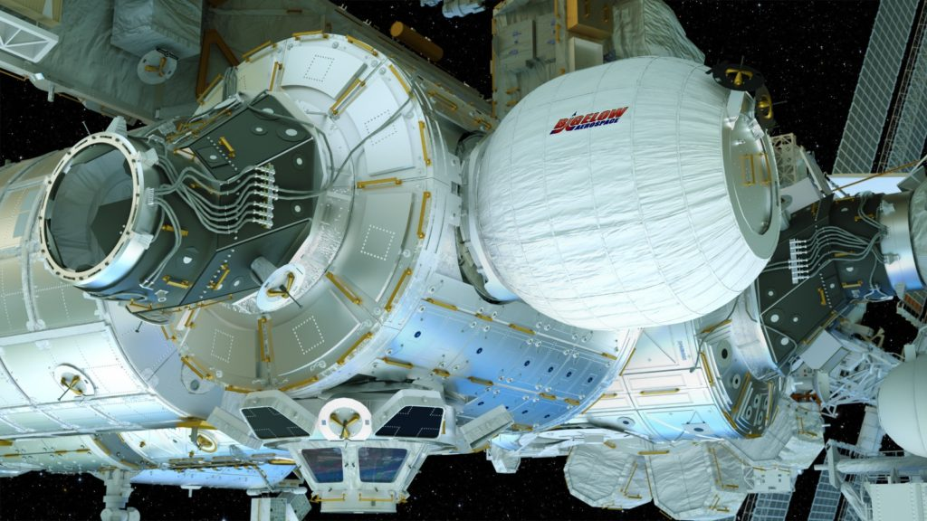 This artist's concept depicts the Bigelow Expandable Activity Module (BEAM), constructed by Bigelow Aerospace. Now attached to the International Space Station, BEAM will be expanded to its full size Thursday, May 26, 2016, soon after which the space station crew will begin a two-year test of the new habitat.  Image Credit: NASA