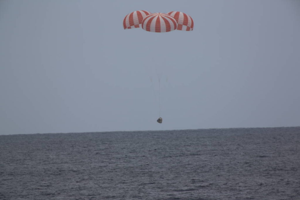 A SpaceX Dragon cargo spacecraft splashed down in the Pacific Ocean at 12:51 p.m. MDT Wednesday, May 11, about 261 miles southwest of Long Beach, California, with more than 3,700 pounds of NASA cargo, science and technology demonstration samples from the International Space Station. Image Credit: SpaceX