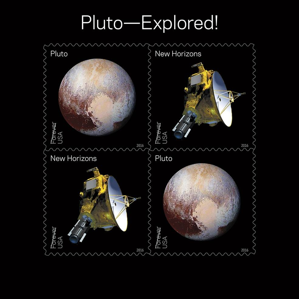 The souvenir sheet of four New Horizons stamps features two new stamps appearing twice. The first stamp is an artist's rendering of NASA's New Horizons spacecraft based on artwork created by APL's Steve Gribben, while the second stamp shows an enhanced color image of Pluto taken by New Horizons near its closest approach to Pluto. Image Credit: USPS/Antonio Alcalá © 2016 USPS