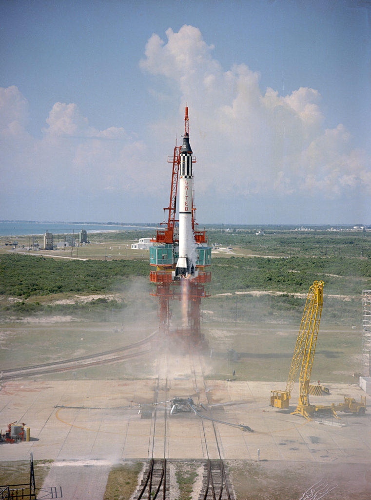 Launch of Freedom 7, the first American manned suborbital space flight. Astronaut Alan Shepard aboard, the Mercury-Redstone (MR-3) rocket is launched from Pad 5. Image Credit: NASA