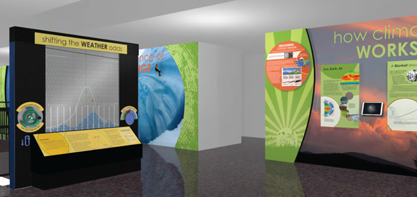 This artist's rendition highlights part of the climate exhibit. The first section of the exhibit (right) provides an overview of Earth's climate system. The interactive display (left) allows visitors to explore how future levels of greenhouse gas emissions will affect heat waves. Image Credit: NCAR/Condit Exhibits