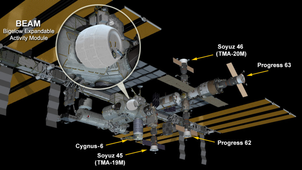 The space station now hosts the new fully expanded and pressurized Bigelow Expandable Activity Module attached to the Tranquility module. Image Credit: NASA