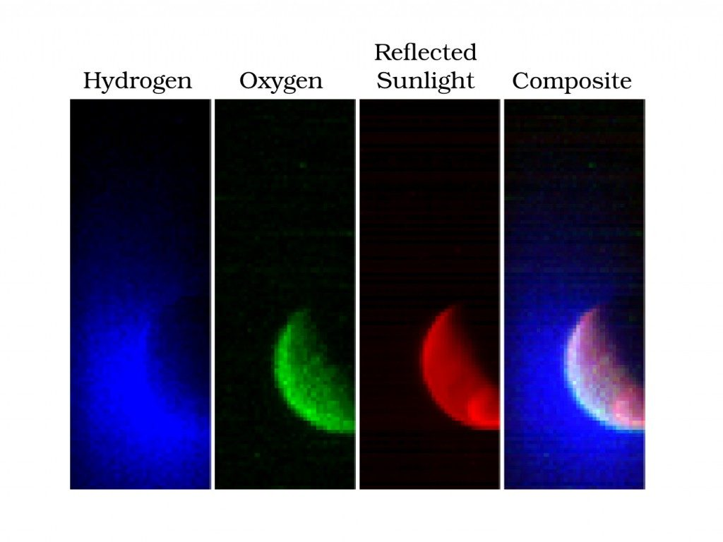 The Imaging Ultraviolet Spectrograph (IUVS) instrument obtained these false-color images eight hours after the successful completion of Mars orbit insertion by the MAVEN spacecraft at 10:24 p.m. EDT Sunday, Sept. 21. The image shows the planet from an altitude of 36,500 km in three ultraviolet wavelength bands. Blue shows the ultraviolet light from the sun scattered from atomic hydrogen gas in an extended cloud thousands of kilometers above the planet's surface. Green shows a different wavelength of ultraviolet light that is primarily sunlight reflected off of atomic oxygen, showing the smaller oxygen cloud. Red shows ultraviolet sunlight reflected from the planet's surface; the bright spot in the lower right is light reflected either from polar ice or clouds. The oxygen gas is held close to the planet by Mars' gravity, while lighter hydrogen gas is present to higher altitudes and extends past the edges of the image. These gases derive from the breakdown of water and carbon dioxide in Mars' atmosphere. Image Credit: LASP/University of Colorado Boulder/NASA