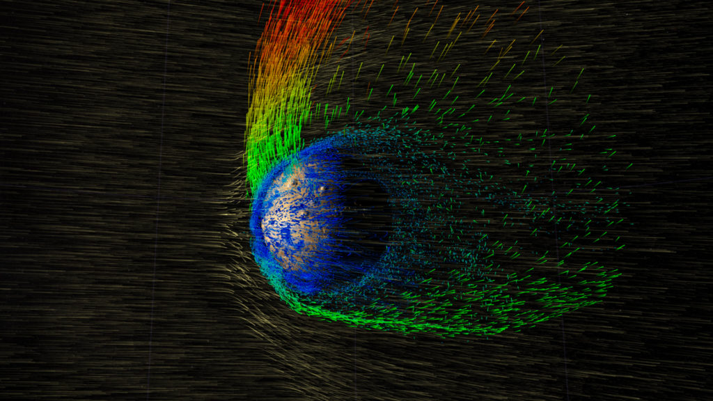MAVEN has returned the first-ever measurements of solar wind erosion at Mars, observing ions in the upper atmosphere as they pick up energy from the electric field of the solar wind and escape to space. Image Credit: NASA/GSFC