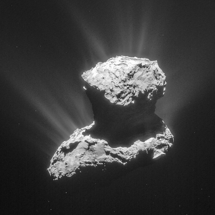This single frame from Rosetta's navigation camera of Comet 67P/Churyumov–Gerasimenko was taken on 25 March 2015 from a distance of 86.6 km from the comet centre, a few days before a flyby that would bring Rosetta to within about 15 km of the comet. It was during this flyby, on 28 March, that Rosetta's ROSINA instrument made a detection of the amino acid glycine in the comet's 'atmosphere', or coma. Image Credit: ESA/Rosetta/NavCam – CC BY-SA IGO 3.0