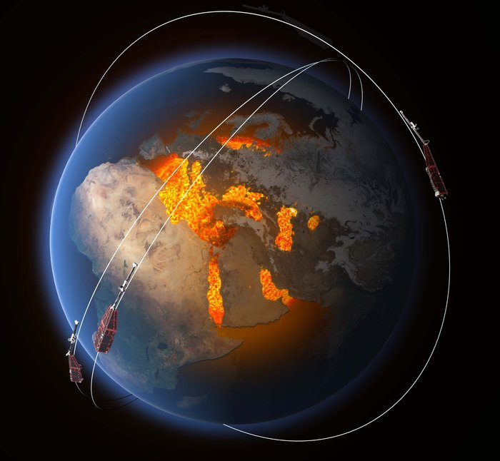 ESA's constellation of three Swarm satellites is designed to identify and measure precisely Earth's magnetic field. This will lead to new insight into many natural processes, from those occurring deep inside the planet, to weather in space caused by solar activity. Image Credit: ESA/ATG Medialab