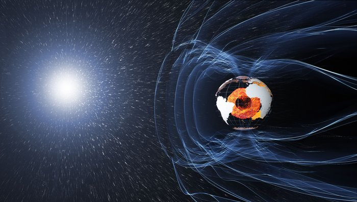 The magnetic field and electric currents in and around Earth generate complex forces that have immeasurable impact on every day life. The field can be thought of as a huge bubble, protecting us from cosmic radiation and charged particles that bombard Earth in solar winds. Image Credit: ESA/ATG medialab