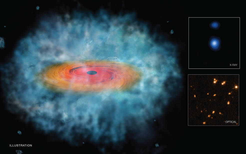 This illustration represents the best evidence to date that the direct collapse of a gas cloud produced supermassive black holes in the early Universe. Researchers combined data from NASA's Chandra, Hubble, and Spitzer telescopes to make this discovery. Image Credit: NASA/CXC/STScI