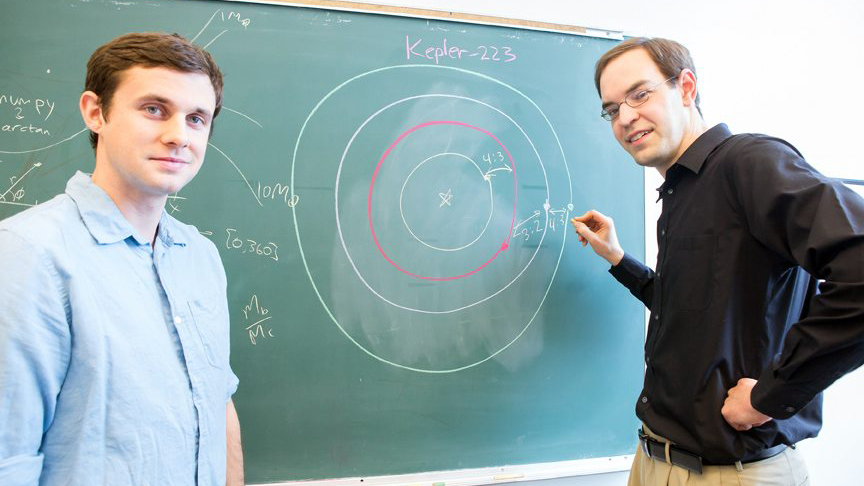 Sean Mills (left) and Daniel Fabrycky (right), researchers at the University of Chicago, describe the complex orbital structure of the Kepler-223 system in a new study. Image Credit: Nancy Wong/University of Chicago