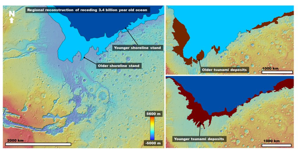 Left: Color-coded digital elevation model of the study area showing the two proposed shoreline levels of an early Mars ocean that existed approximately 3.4 billion years ago. Right: Areas covered by the documented tsunami events extending from these shorelines. Image Credit: Alexis Rodriguez