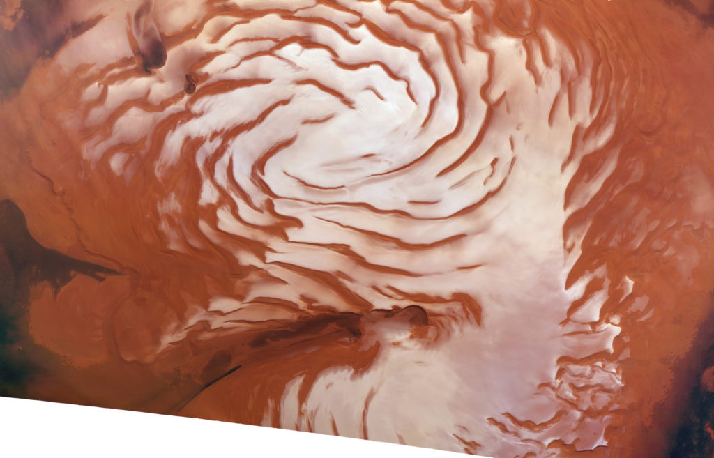Combining Mars Reconnaissance Orbiter radar data with images of Mars' north pole, a Southwest Research Institute team found evidence for an ice age on the Red Planet. This mosaic image, produced with the High Resolution Stereo Camera (HRSC) onboard ESA's Mars Express (MEx) spacecraft, shows spiral features that were used in interpreting the climate signal of ice age advancement and retreat. This image was cropped from a two-image true-color mosaic acquired by HRSC and specially processed by Dominik Neu and Patrick C. McGuire from the Freie Universität Berlin and the MEx/HRSC teams for this release. Image Credit: ESA/DLR/FU-Berlin/Ralf Jaumann