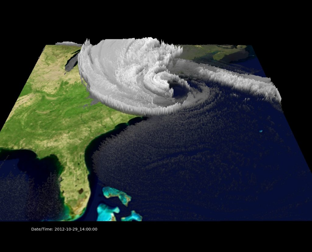 EarthCube is designed to foster collaborations across the geosciences. The technology helps scientists in different disciplines better understand the far-reaching influences of natural events, such as how major storms like Sandy (above) affect coastal and inland flooding. This unique view of Sandy was generated with NCAR's VAPOR visualization software, based on detailed computer modeling. Image Credit: UCAR. Visualization by Alan Norton, NCAR, based on research by NCAR scientists Mel Shapiro and Thomas Galarneau.