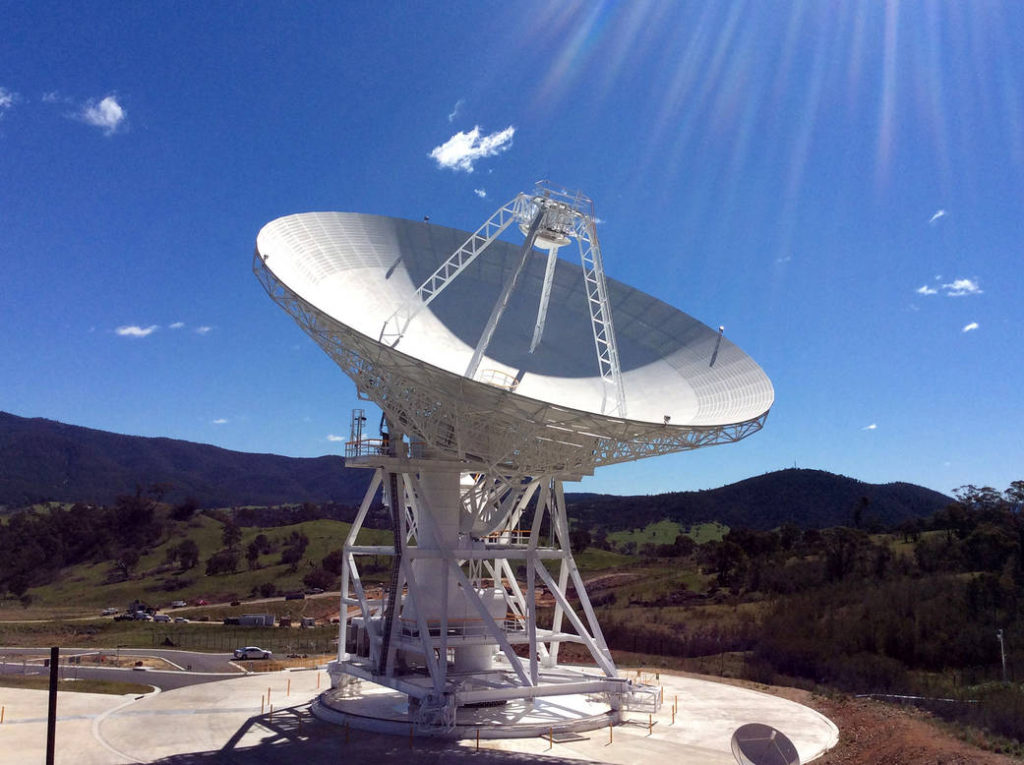 This photograph shows NASA's newest Deep Space Network antenna, Deep Space Station 35 in Canberra, Australia. Image Credit: Canberra Deep Space Communication Complex
