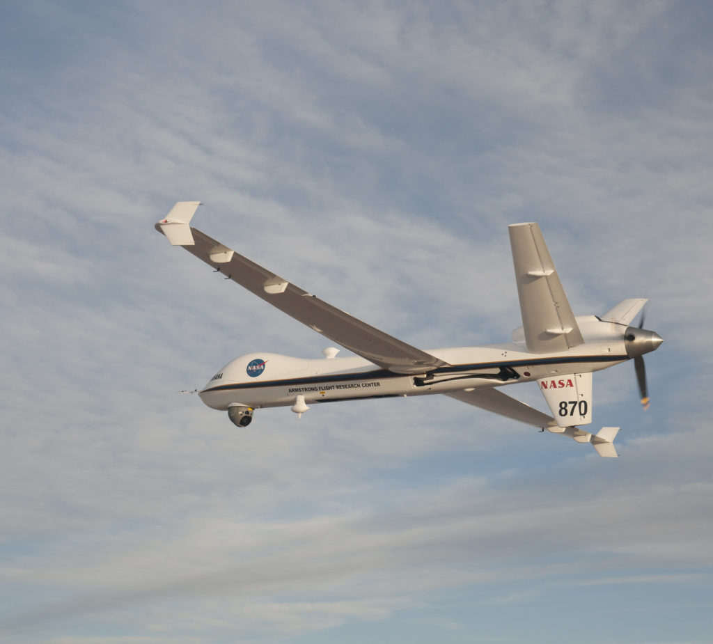 The Ikhana remotely piloted aircraft captured real-time video when the Orion Exploration Flight Test-1 mission concluded on Dec. 5, 2014. It is planned for the Ikhana to capture video again for the Orion and Space Launch System Exploration Mission-1 (EM-1) certification flight. Image Credit: NASA / Carla Thomas