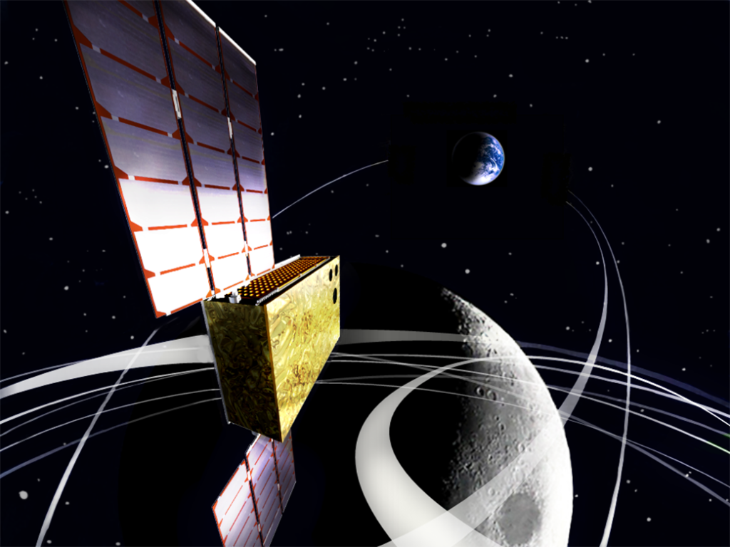 EQUULEUS (EQUilibriUm Lunar-Earth point 6U Spacecraft) will measure the distribution of plasma that surrounds the Earth to help scientists understand the radiation environment in the region of space around Earth. It will also demonstrate low-energy trajectory control techniques, such as multiple lunar flybys, within the Earth-Moon region. Image Credit: JAXA/University of Tokyo