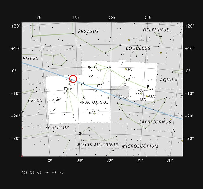 This chart shows the naked eye stars visible on a clear dark night in the sprawling constellation of Aquarius (The Water Carrier). The position of the faint and very red ultracool dwarf star TRAPPIST-1 is marked. Although it is relatively close to the Sun it is very faint and not visible in small telescopes. Image Credit: ESO/IAU and Sky & Telescope