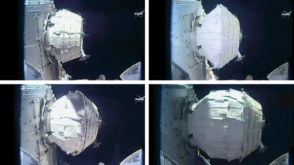 The BEAM expansion took several hours as astronaut Jeff Williams sent two dozen pulses of air into the expandable module. Image Credit: NASA TV