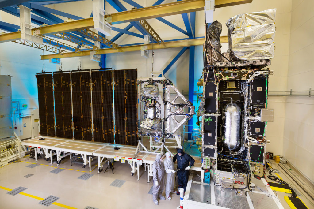 The fully-integrated GOES-R satellite is shown here in a clean room at a Lockheed Martin facility in Littleton, Colorado. Image Credit: Lockheed Martin