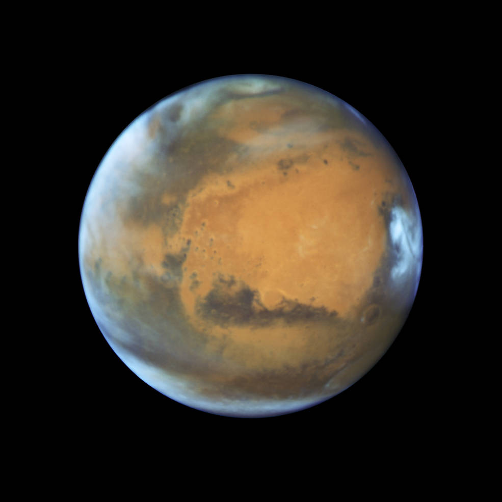 Hubble Space Telescope photo of Mars taken when the planet was 50 million miles from Earth on May 12, 2016. Image Credit: NASA, ESA, the Hubble Heritage Team (STScI/AURA), J. Bell (ASU), and M. Wolff (Space Science Institute)