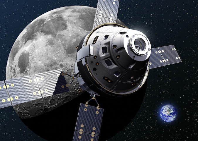 Artist's concept of an Orion spacecraft and its European-built service module near the moon. Image Credit: Lockheed Martin