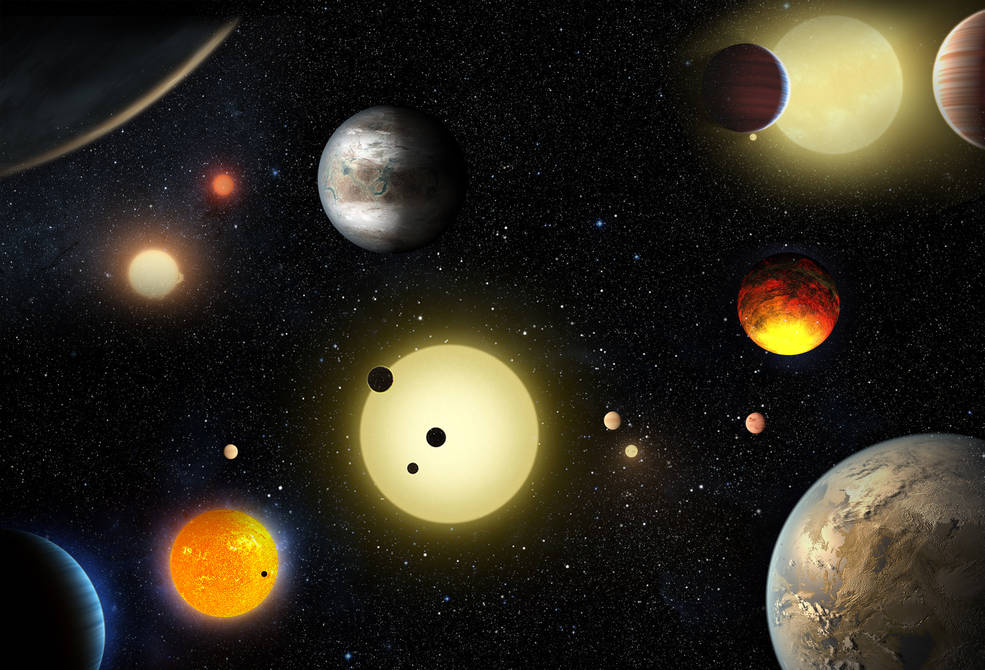This artist's concept depicts select planetary discoveries made to date by NASA's Kepler space telescope. Image Credit: NASA/W. Stenzel