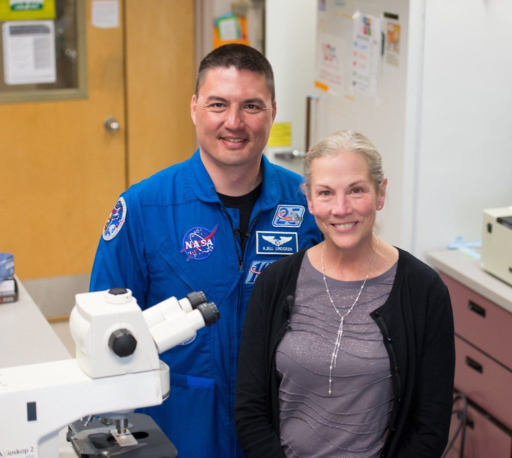 CSU Alumus and NASA Astronaut Kjell Lindgren visits Susan Bailey and her lab staff during his visit to CSU. March 21, 2016. Image Credit: Colorado State Universtiy, College of Veterinary Medicine and Biomedical Sciences