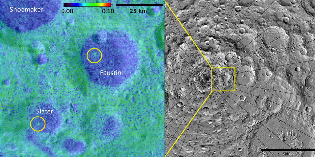 Using data from the LAMP instrument aboard the Lunar Reconnaissance Orbiter, a Southwest Research Institute-led team of scientists discovered two geologically young craters — one (right) 16 million, the other (left) between 75 and 420 million, years old — in the Moon's darkest regions. One lies within Slater Crater, named for the late Dr. David C. Slater, a former SwRI space scientist who designed and built the LAMP instrument. Albedo map credit: NASA GSFC/SwRI; Topographic map credit: NASA GSFC/ASU Jmoon