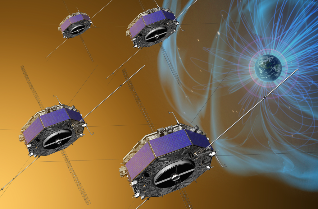 This artist's depiction illustrates the four Magnetospheric Multiscale (MMS) spacecraft flying in a tetrahedral formation, superposed on a conceptual rendering of Earth's magnetosphere (not to scale). MMS measurements along the dayside boundary of the magnetosphere have yielded important new insights into the role of electrons in magnetic reconnection. MMS is measuring this explosive physical process as the Sun's and Earth's magnetic fields interact, converting stored magnetic energy into kinetic energy and heat. Image Credit: NASA/Goddard Space Flight Center Conceptual Image Lab