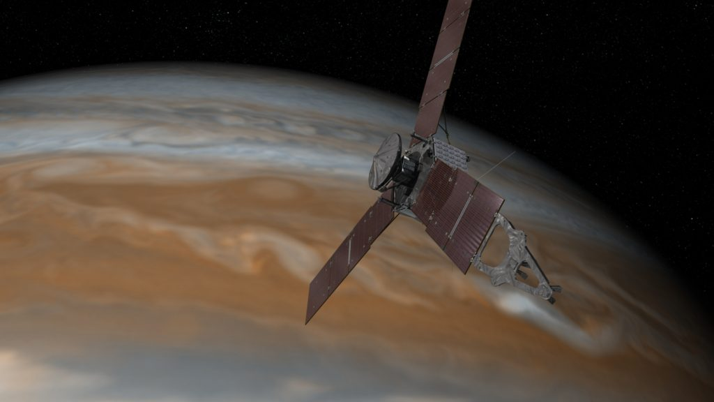This artist's rendering shows NASA's Juno spacecraft making one of its close passes over Jupiter. Image Credit: NASA/JPL-Caltech