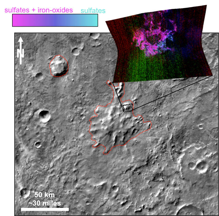 This graphic illustrates where Mars mineral-mapping from orbit has detected minerals that can indicate where a volcano erupted beneath an ice sheet. The site is far from any ice sheet on modern Mars, in an area where unusual shapes have been interpreted as a possible result of volcanism under ice. Image Credit: NASA/JPL-Caltech/JHUAPL/ASU