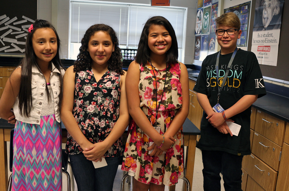 Anessa, Sienna, Kim and Isac presented a detailed budget plan that included materials and engineer and scientist salaries. Image Credit: Colorado Space News