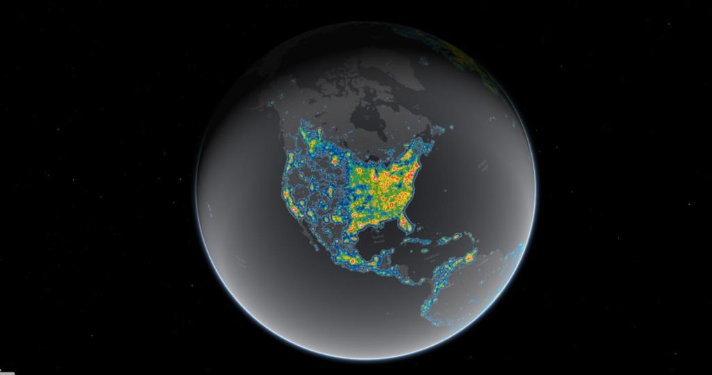 Light pollution now blots out the Milky Way for eight in 10 Americans. Bright areas in this map show where the sky glow from artificial lighting blots out the stars and constellations.  Image Credit: Falchi et al, Science Advances; Jakob Grothe/National Park Service, Matthew Price/CIRES/CU-Boulder