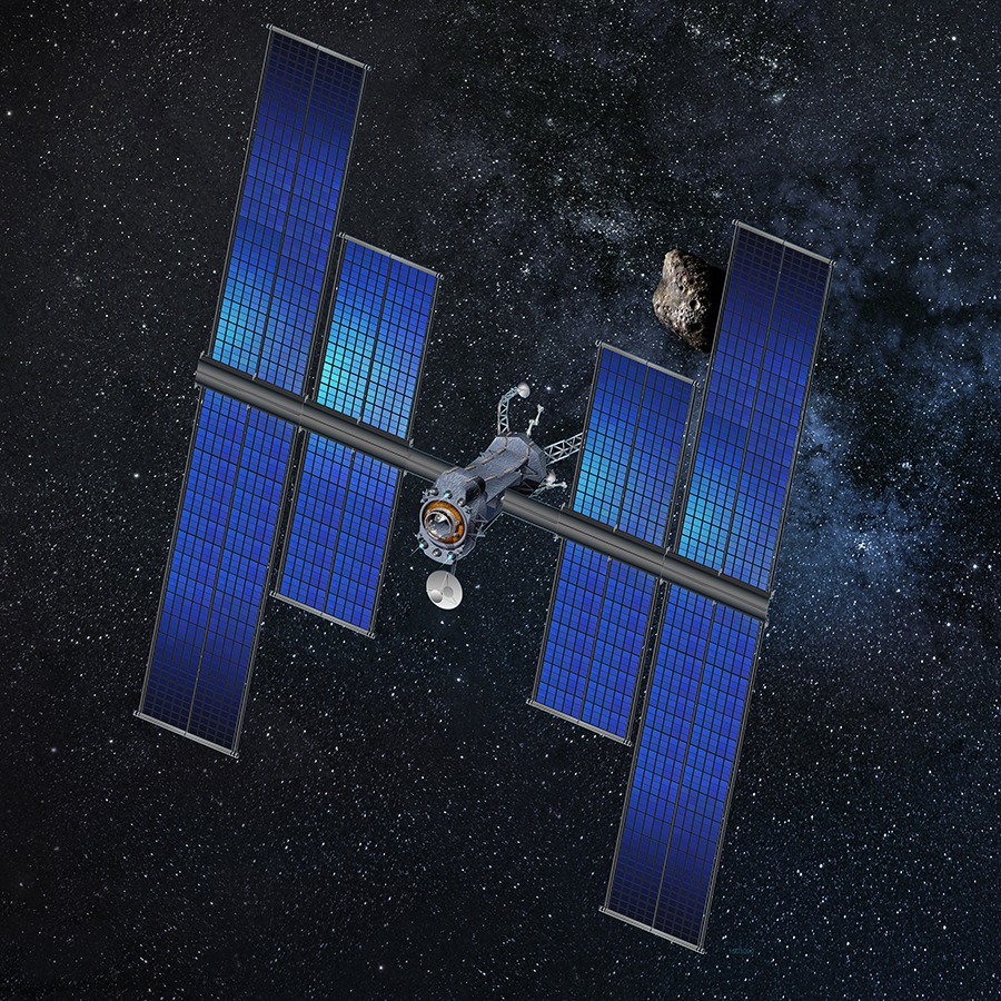 Spacecraft concept using ROSA, the roll out solar array. Image Credit: Space Systems Loral (SSL)