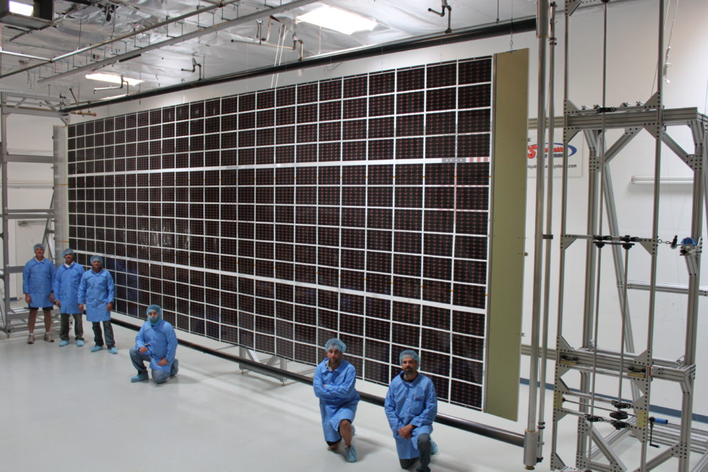 Roll Out Solar Array (ROSA) technology undergoes testing. Image Credit: Deployable Space Systems, Inc. (DSS)