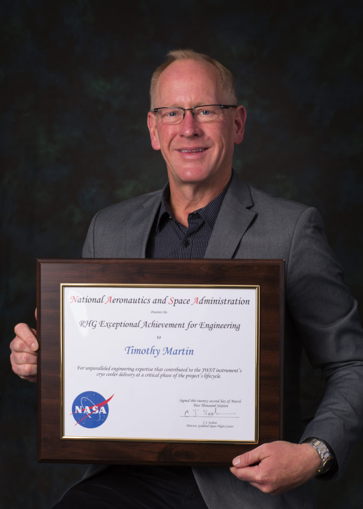 Timothy Martin, director of engineering for Northrop Grumman Corporation's Aerospace Systems sector was recognized with the Robert H. Goddard Exceptional Achievement Award for Engineering for his work on NASA's James Webb Space Telescope. Image Credit: Northrop Grumman Corp.