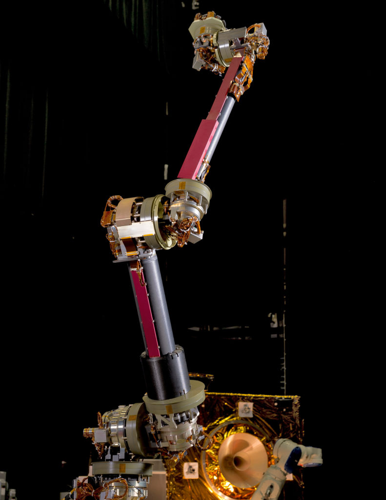An engineering design unit of the NASA Servicing Arm, which will be used for the Restore-L mission, stands in the Robotics Operations Center at NASA's Goddard Space Flight Center. Image Credit: NASA/Chris Gunn