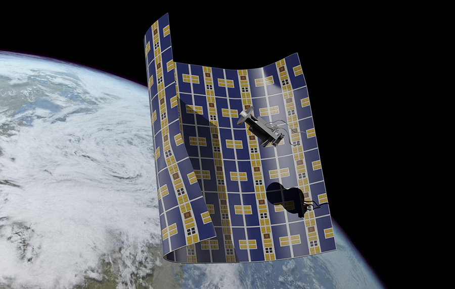 An artist's conception of Brane Craft about to capture a piece of space debris. Image Credit: Joseph Hidalgo