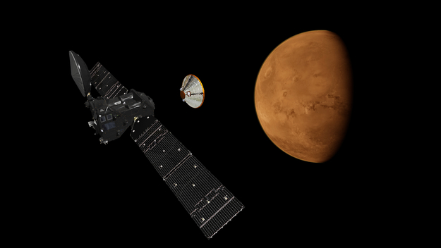 Artist's impression depicting the separation of the ExoMars 2016 entry, descent and landing demonstrator module, named Schiaparelli, from the Trace Gas Orbiter, and heading for Mars. Image Credit: ESA/ATG medialab