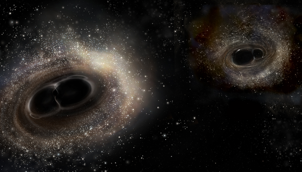 The images have been scaled to show the difference in black hole masses. In the GW150914 event, the black holes were 29 and 36 times that of our Sun, while in GW151226, the two black holes weighed in at 14 and 8 solar masses. Image credit: LIGO/A. Simonnet
