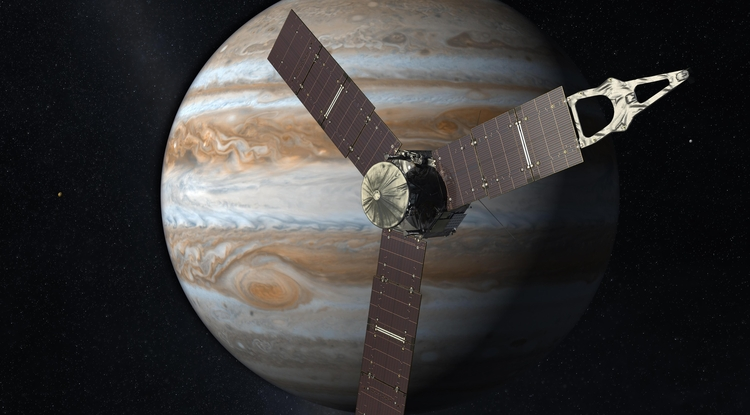 With its suite of science instruments, Juno will investigate the existence of a solid planetary core, map Jupiter's intense magnetic field, measure the amount of water and ammonia in the deep atmosphere, and observe the planet's auroras. Juno's principal goal is to understand the origin and evolution of Jupiter. Image Credit: NASA/JPL