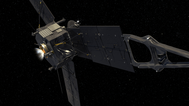 This computer-generated image depicts NASA's Juno spacecraft firing its Leros-1b main engine. Image Credit: NASA/JPL