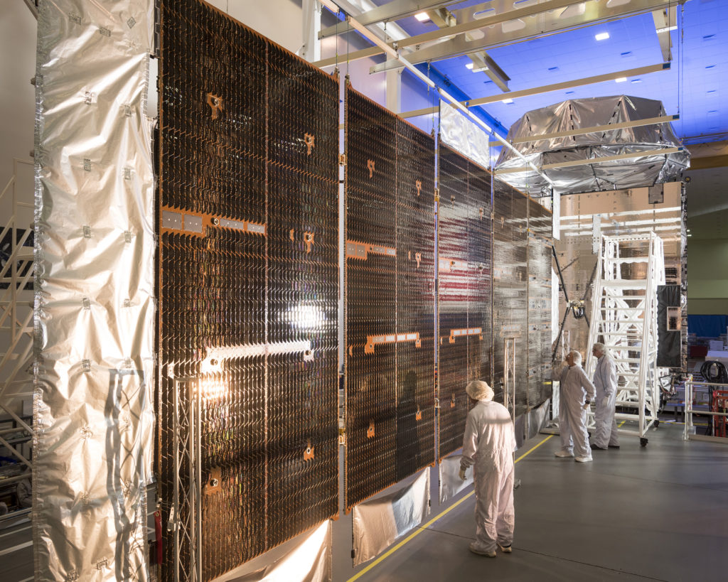 MUOS-5, the fifth satellite to join the U.S. Navy's Mobile User Objective System (MUOS) secure communications network, will help revolutionize secure ultra-high frequency (UHF) satellite communications (SATCOM) for mobile forces. Image Credit: Lockheed Martin