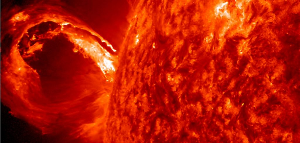 Coronal mass ejection at the edge of the Sun. Image Credit: NOAA