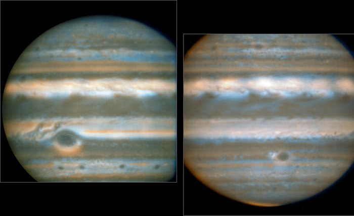 False colour images generated from VLT observations in February and March 2016, showing two different faces of Jupiter. The bluer areas are cold and cloud-free, the orangey areas are warm and cloudy, more colourless bright regions are warm and cloud-free, and dark regions are cold and cloudy (such as the Great Red Spot and the prominent ovals). The wave pattern over the North Equatorial Band shows up in orange. This view was created from VLT/VISIR infrared images from February 2016 (left) and March 2016 (right). The orange images were obtained at 10.7 micrometres wavelength and highlight the different temperatures and presence of ammonia. The blue images at 8.6 micrometres highlight variations in cloud opacity. Image Credit: ESO/L.N. Fletcher